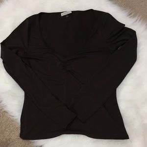 Rouched deep v long sleeve fitted fundamental item